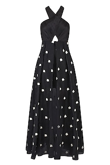Black Floral Embroidered Cross Over Gown