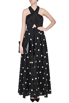 Black Floral Embroidered Cross Over Gown by Dimple Raghani