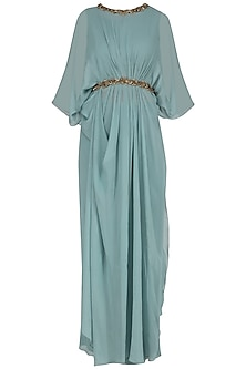 Ice Blue Embroidered Pleated Top with Flared Pants