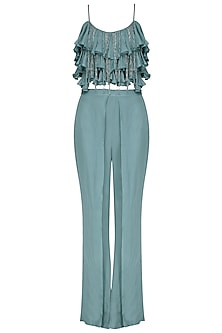 Blue Tassel and Ruffles Crop Top with Flap Pants