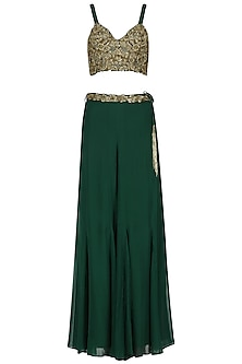 Bottle Green Embroidered Lehenga Skirt Set