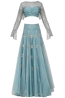 Ice Blue Embroidered Lehenga with Ruched Blouse