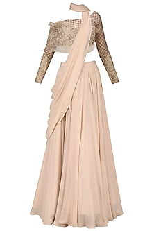 Rose Pink Embroidered Lehenga Set by Dheeru and Nitika