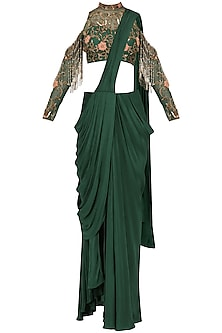 Bottle Green Drape Saree with Embroidered Blouse