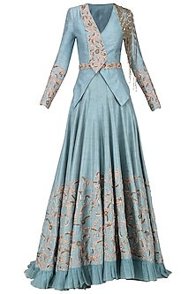 Ice Blue Embroidered Jacket with Lehenga by Dheeru and Nitika