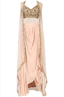 Rose Pink Drape Skirt with Embroidered Blouse and Cape