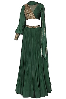 Bottle Green Embroidered Lehenga Set
