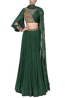 Bottle Green Embroidered Lehenga Set by Dheeru and Nitika