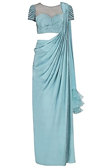 Ice Blue Drape Saree with Embroidered Blouse