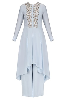 Powder Blue Hand Embroidred Asymmetic Tunic with Palazzo Set