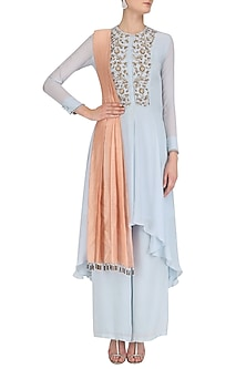 Powder Blue Hand Embroidred Asymmetic Tunic with Palazzo Set by Dheeru and Nitika