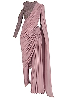 Lilac Blouse with Saree Inspired Drape Bottom Set