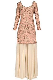 Peach and Beige Hand Embroidered Sharara Set by Dheeru and Nitika