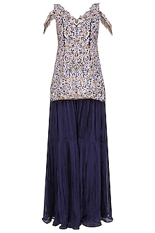 Midnight Blue Floral Embroidered Sharara Set