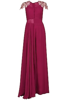 Red Wine Embroidered Tunic with Palazzo Pants Set by Dheeru and Nitika
