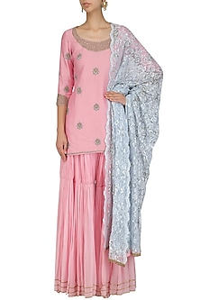 Pink Embroidered Short Kurta and Pleated Sharara Set by Dheeru and Nitika