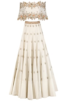 Ivory Off Shoulder Cape with Lehenga Set