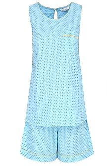Blue Dots Printed Sleeveless Shirt and Shorts Set