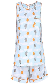 Blue and Grey Robot Printed Shirt and Shorts Set