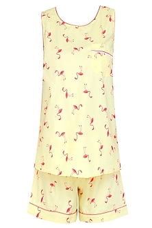 Yellow and Coral Flamingo Printed Shirt and Shorts Set