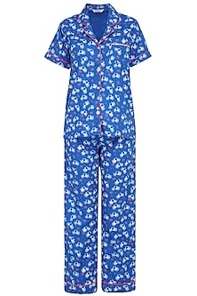 Blue Cycle Printed Nightsuit Set