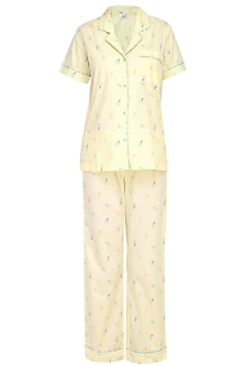 Yellow Bulbs Printed Nightsuit Set