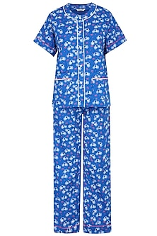 Blue Cycle and Envelope Printed Nightsuit Set