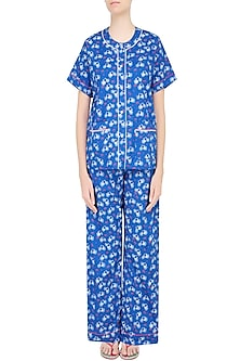 Blue Cycle and Envelope Printed Nightsuit Set by Dandelion