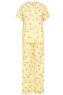 Yellow and Coral Flamingo Printed Nightsuit Set