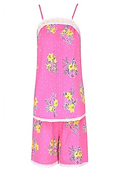 Pink and Yellow Flowers Printed Camisole and Shorts Set