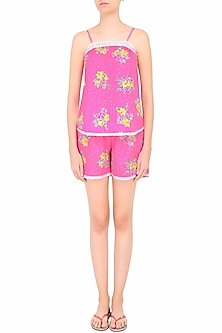 Pink and Yellow Flowers Printed Camisole and Shorts Set by Dandelion