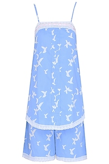 Blue and White Dove Printed Camisole and Shorts Set