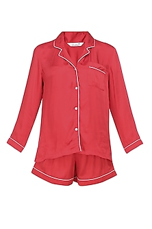 Red satin shirt and shorts set