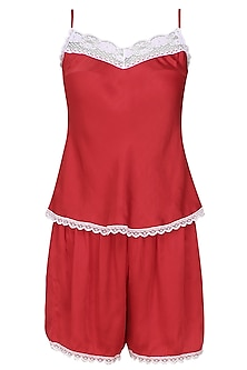 Red satin camisole and shorts set