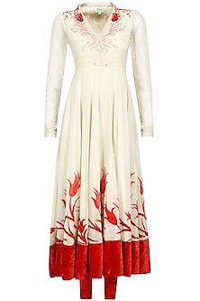 Biscuit Beige and Red Thread Embroidered Kurta Set
