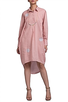 Pink Embroidered Shirt Dress by Doodlage