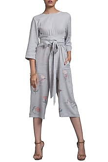 Grey Embroidered Jumpsuit With Front Knot by Doodlage