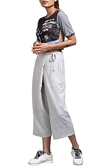 Grey Overlap Trouser Pants With Belt by Doodlage