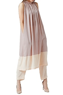 Beige Gathered Tunic With Pants by Doodlage