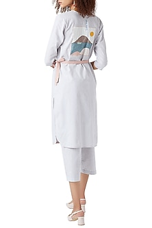 White & Blue Striped Embroidered Wrap Tunic With Belt by Doodlage