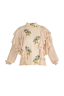 Frosted Almond Printed Ruffled Top by DOOR OF MAAI