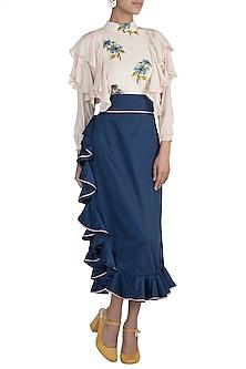 Navy Blue Ruffled Midi Skirt by DOOR OF MAAI