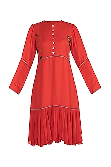 Aurora Red Embroidered & Screen Printed Dress by DOOR OF MAAI