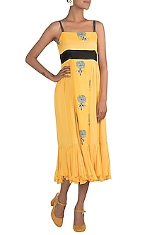 Yellow Printed & Embroidered Strappy Dress by DOOR OF MAAI