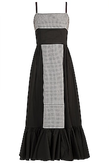 Black & White Checkered Frill Dress by DOOR OF MAAI