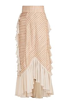 Pink Striped Ruffled Skirt by DOOR OF MAAI