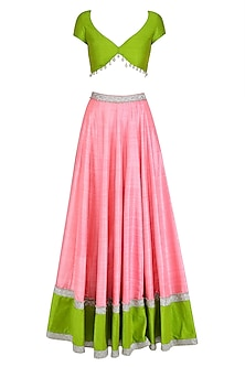 Green Deep Neck Blouse and Yellow Lehenga Skirt Set by Divya Reddy