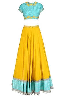 Blue Floral Embroidered Blouse and Yellow Lehenga Skirt Set by Divya Reddy