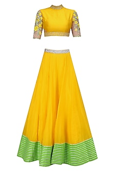 Yellow and Green Floral Embroidered Blouse and Lehenga Skirt Set