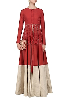 Red and Beige Embroidered Jacket Anarkali Set by Divya Reddy